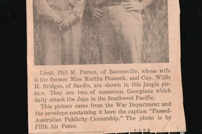 Lieutenant Phil M Patton Newspaper Clipping