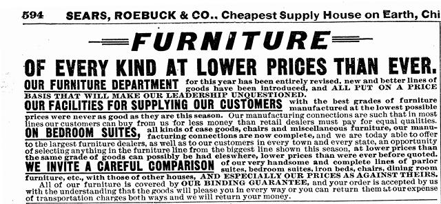 1902 Sears, Roebuck Antique Furniture Photo