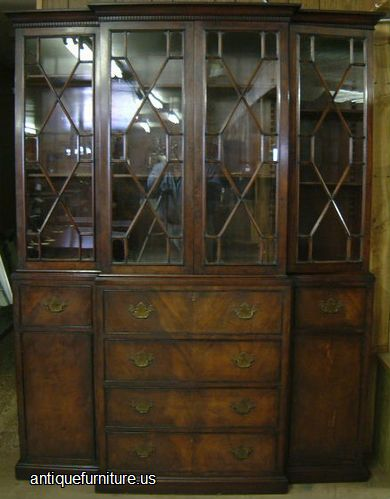 Antique Beacon Hill Flame Mahogany Breakfront At Antique
