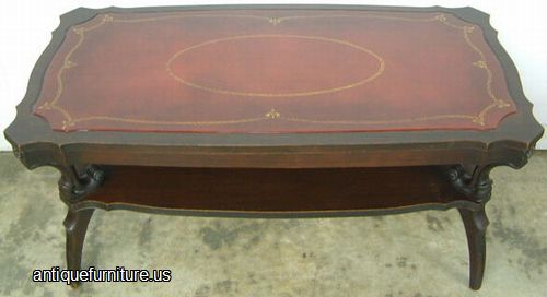 Elegant Antique Mahogany Leather Top Coffee Table At Antique Furniture.US