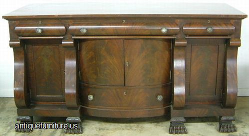 Antique Massive Empire Flame Mahogany Paw Foot Sideboard At Antique  Furniture.US
