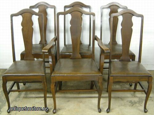 Antique Set Queen Ann Walnut Dining Room Chairs At Antique Furniture US