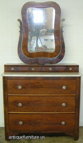 Antique Flame Mahogany Marble Top Wishbone Dresser At Antique Furniture Us
