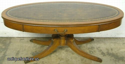 Antique Mahogany Leather Top Coffee Table At Antique Furniture.US