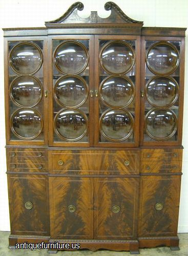 Antique Flame Mahogany Bubble Glass Breakfront At Antique