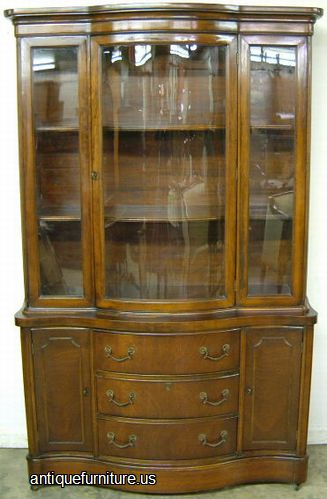 Antique Mahogany Curved Glass China Cabinet At Antique