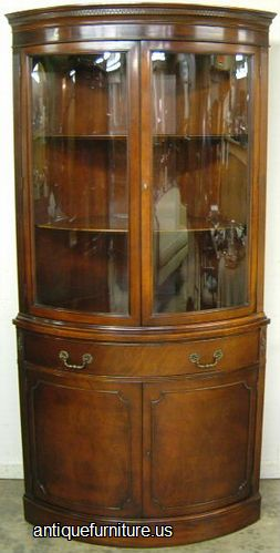 Antique Mahogany Curved Glass Corner China Cabinet At Antique Furniture.US