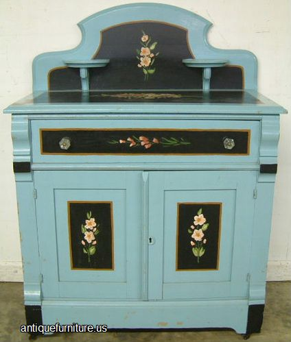 . Antique Paint Decorated Cottage Washstand at Antique Furniture US