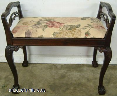 Antique Mahogany Ball Claw Vanity Bench At Antique Furniture.US