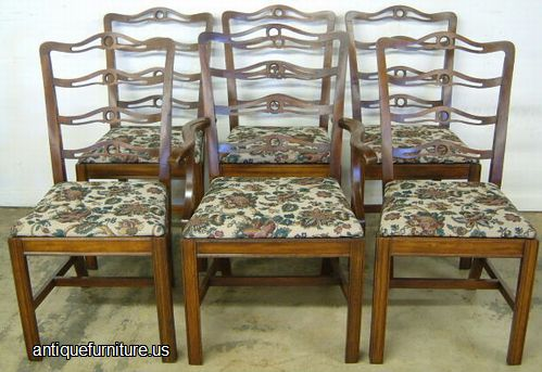 Antique set mahogany ribbon back dining chairs at antique for Dining room furniture auctions