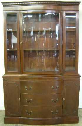 Antique Mahogany Curved Glass China Cabinet at Antique Furniture.US