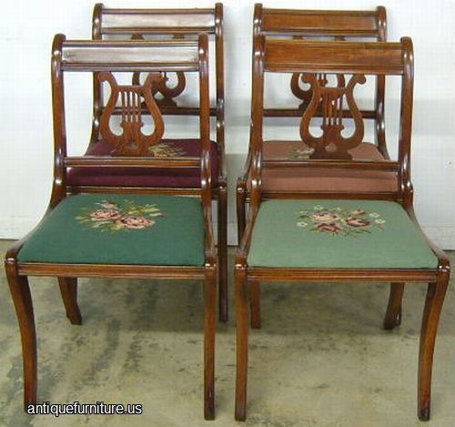 Antique Mahogany Lyre Back Needlepoint Chairs At Antique Furniture.US