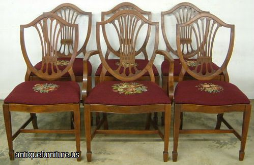 Antique Set Mahogany Shieldback Needlepoint Dining Chairs at Antique  Furniture.US - Antique Set Mahogany Shieldback Needlepoint Dining Chairs At Antique