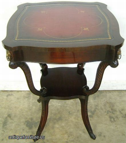 Antique Mahogany Leather Top Lamp Table at Antique FurnitureUS