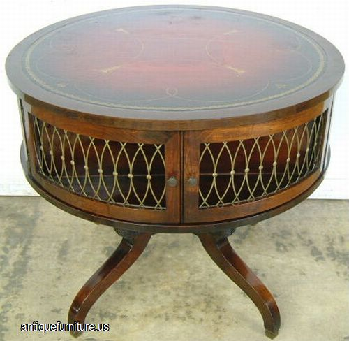 August 2014 Cpo Offers Table Jpg: Antique Mahogany Leather Top Drum Table At Antique