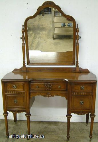 High Quality Antique Burl Walnut Vanity With Mirror At Antique Furniture.US