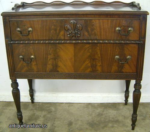 Antique flame mahogany sheraton style 2 drawer server at for What is sheraton style furniture