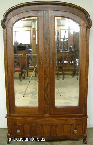 Ordinaire Antique Circassian Walnut Double Mirrored Door Dome Top Armoire At Antique  Furniture.US