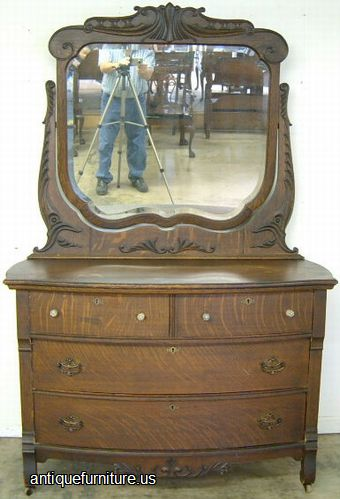 Antique Ornate Oak Bow Front 4 Drawer Dresser With Mirror At Furniture Us