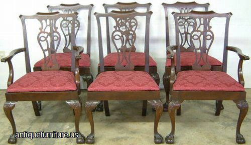 antique set of 6 mahogany ball claw dining chairs at