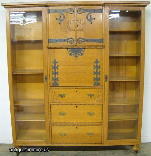 Antique Turn Of Century Golden Oak Side By Side Double Bookcase Secretary  Desk At Antique Furniture.US