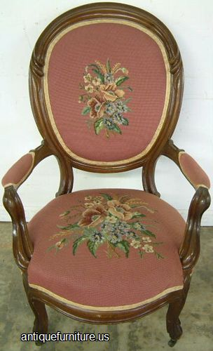 Antique Victorian Needlepoint Chair With Arms At Antique Furniture.US