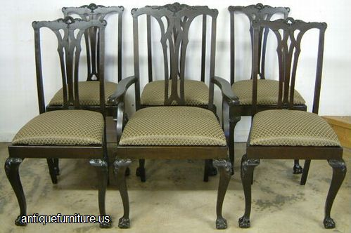 antique set mahogany ball claw dining chairs at antique