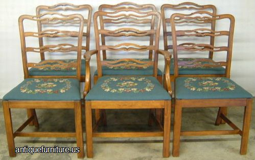 antique set of 6 needlepoint dining chairs at antique