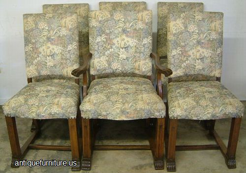 Antique Set Of 6 Upholstered Dining Room Chairs At FurnitureUS