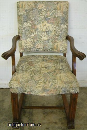 Antique Upholstered Dining Chair With Arms At FurnitureUS