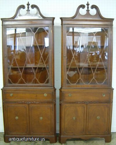 - Antique Pair Mahogany Corner China Cabinets At Antique Furniture.US