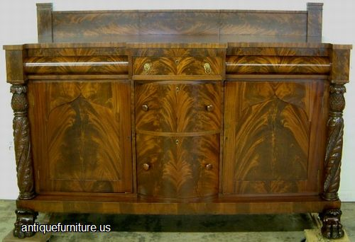 Antique Empire Acanthus Carved Flame Mahogany Paw Foot Sideboard At Antique  Furniture.US