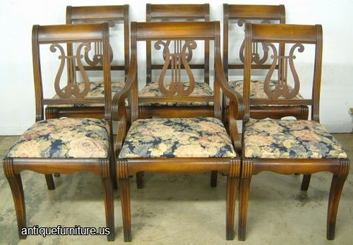 antique set 6 mahogany lrye back dining chairs at antique