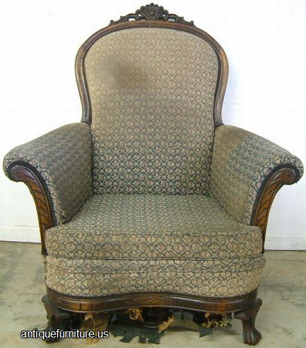 Gentil Antique 1920s Upholstered Easy Chair With Ornate Carving At Antique  Furniture.US