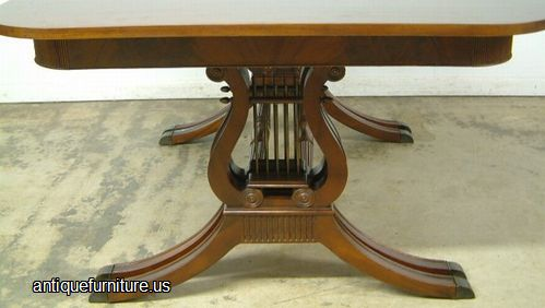 antique mahogany dining table lyre base at antique furnitureus - Mahogany Dining Table