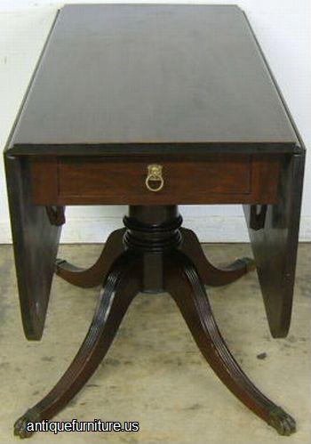 Antique Mahogany Drop Leaf Dining Table