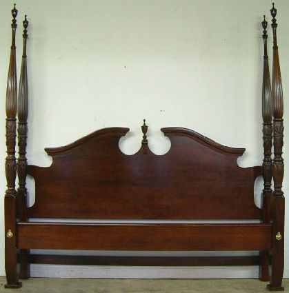 Antique Mahogany King Size Rice Bed At